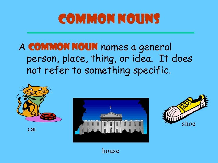 Common Nouns A COMMON NOUN names a general person, place, thing, or idea. It