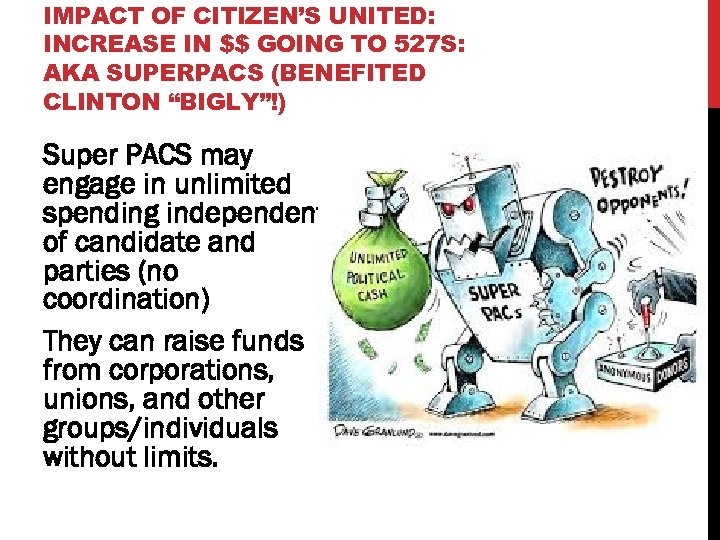 IMPACT OF CITIZEN'S UNITED: INCREASE IN $$ GOING TO 527 S: AKA SUPERPACS (BENEFITED