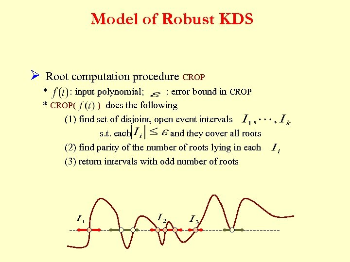 Model of Robust KDS Ø Root computation procedure CROP * : input polynomial; :