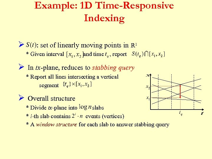 Example: 1 D Time-Responsive Indexing Ø : set of linearly moving points in R