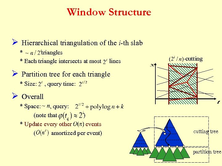 Window Structure Ø Hierarchical triangulation of the i-th slab * triangles * Each triangle