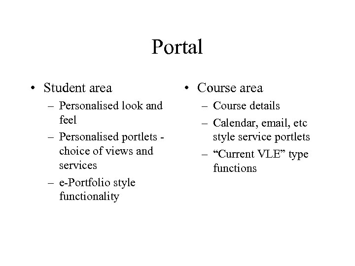 Portal • Student area – Personalised look and feel – Personalised portlets choice of