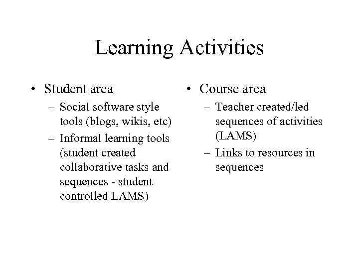 Learning Activities • Student area – Social software style tools (blogs, wikis, etc) –