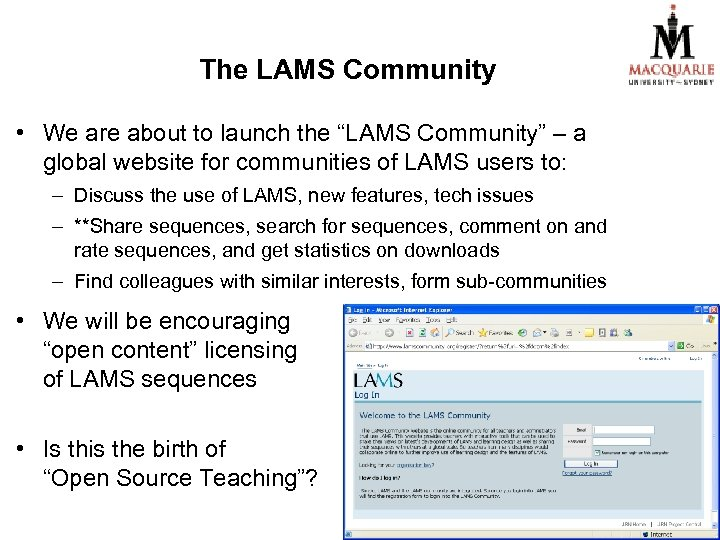 """The LAMS Community • We are about to launch the """"LAMS Community"""" – a"""