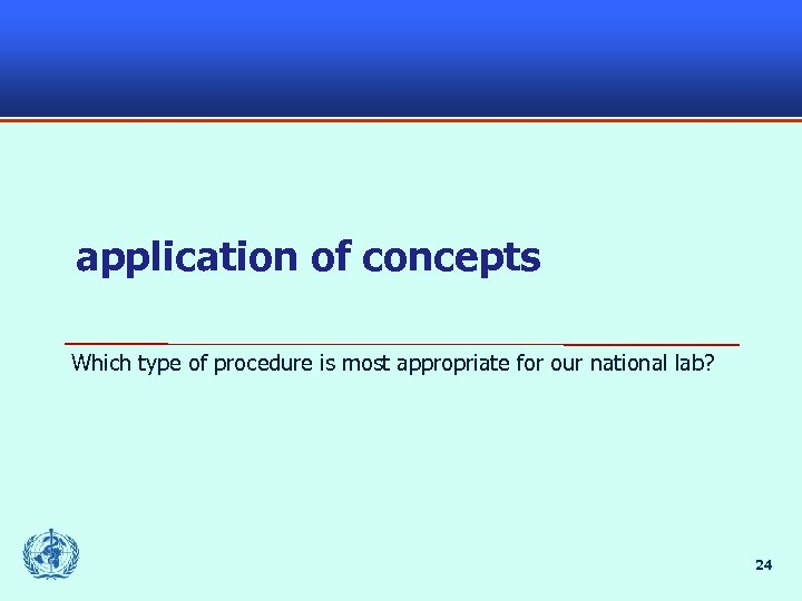application of concepts Which type of procedure is most appropriate for our national lab?