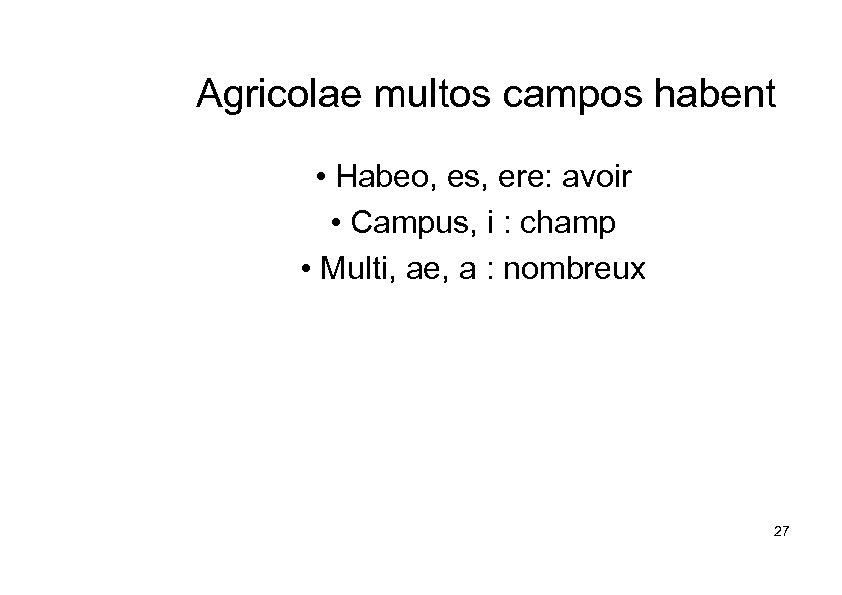 Agricolae multos campos habent • Habeo, es, ere: avoir • Campus, i : champ
