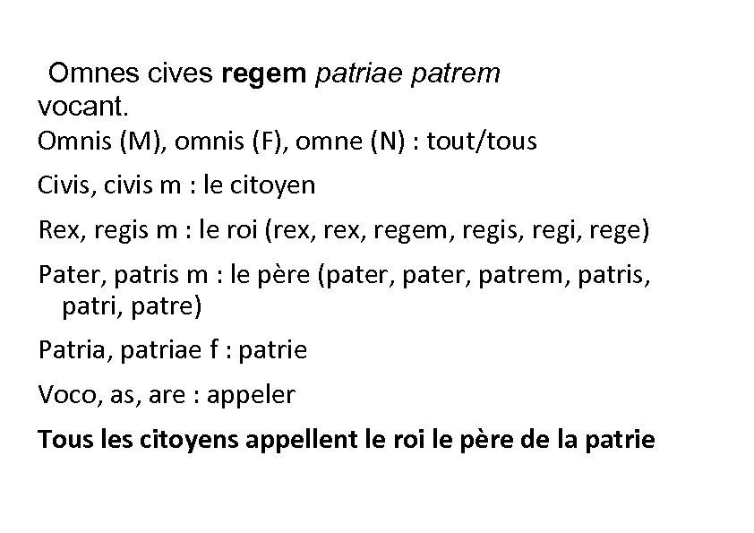Omnes cives regem patriae patrem vocant. Omnis (M), omnis (F), omne (N) :