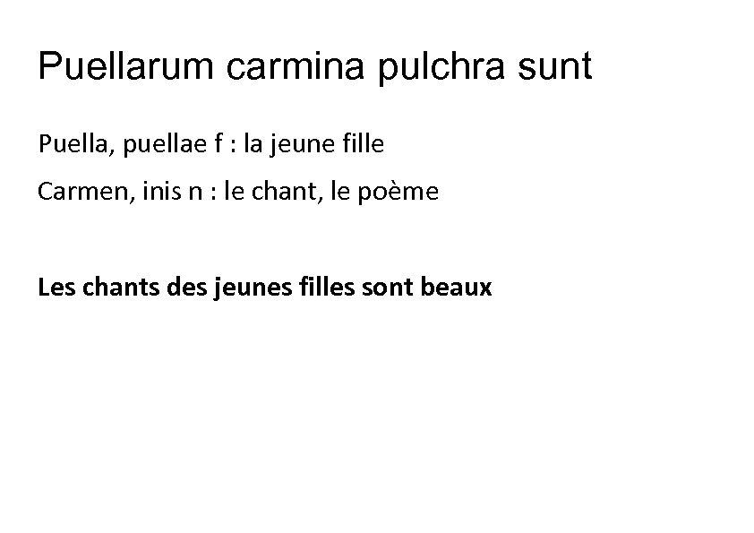 Puellarum carmina pulchra sunt Puella, puellae f : la jeune fille Carmen, inis n