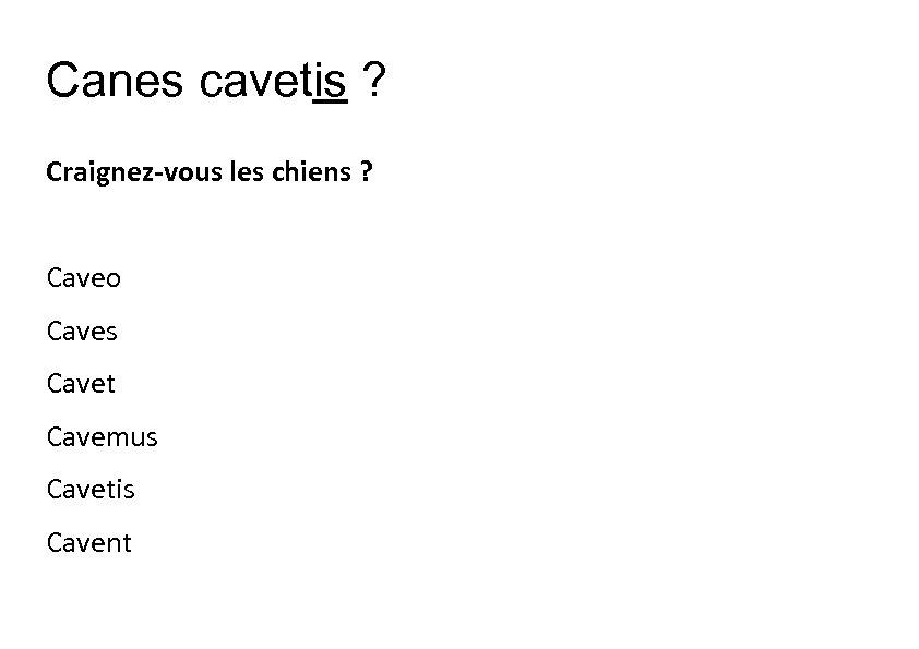 Canes cavetis ? Craignez-vous les chiens ? Caveo Caves Cavet Cavemus Cavetis Cavent