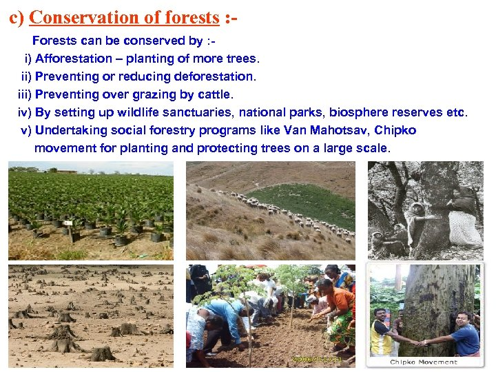c) Conservation of forests : Forests can be conserved by : i) Afforestation –