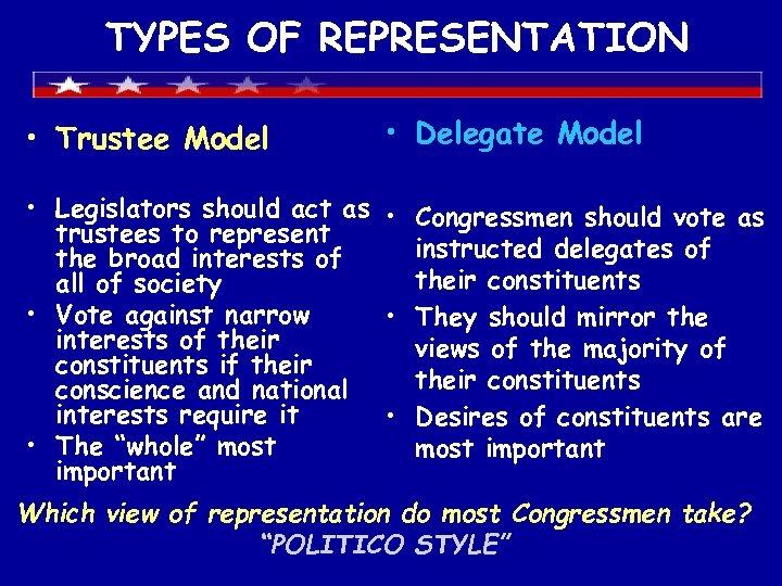 TYPES OF REPRESENTATION • Trustee Model • Delegate Model • Legislators should act as