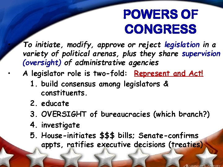 POWERS OF CONGRESS • • To initiate, modify, approve or reject legislation in a