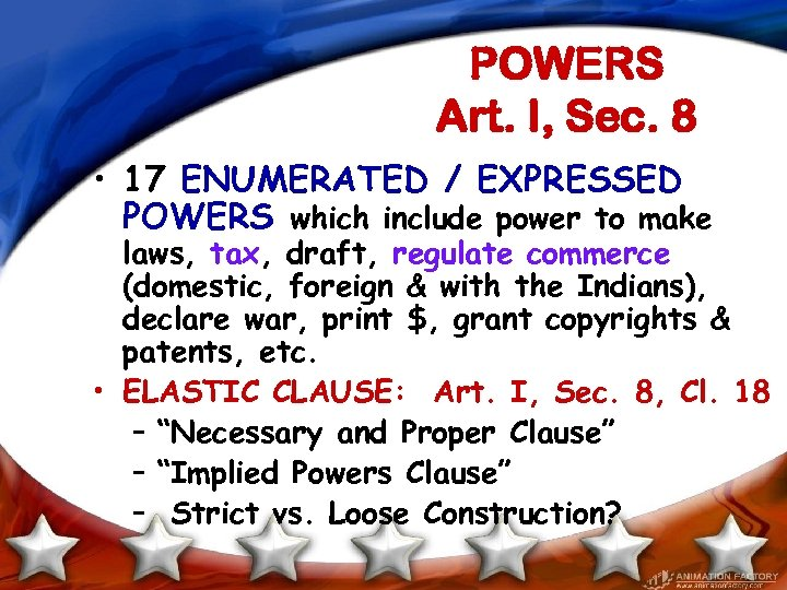 POWERS Art. I, Sec. 8 • 17 ENUMERATED / EXPRESSED POWERS which include power