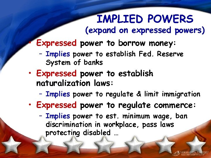IMPLIED POWERS (expand on expressed powers) • Expressed power to borrow money: – Implies