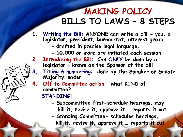 MAKING POLICY BILLS TO LAWS – 8 STEPS 1. Writing the Bill: ANYONE can