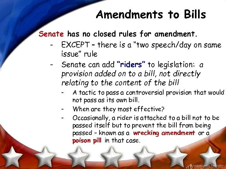 Amendments to Bills Senate has no closed rules for amendment. - EXCEPT – there