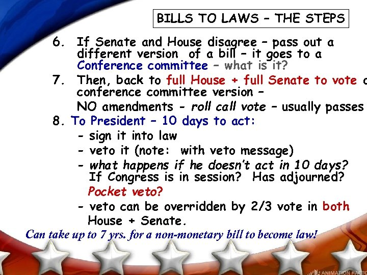 BILLS TO LAWS – THE STEPS 6. If Senate and House disagree – pass