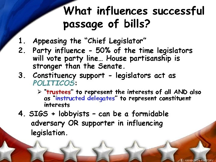 """What influences successful passage of bills? 1. Appeasing the """"Chief Legislator"""" 2. Party influence"""
