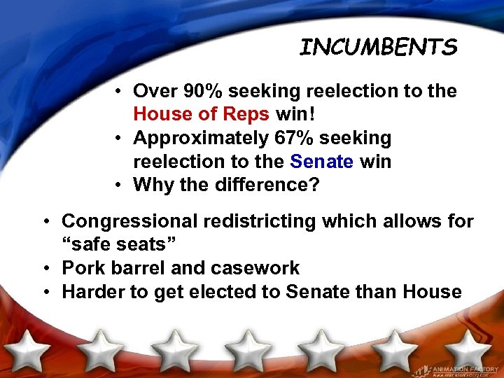 INCUMBENTS • Over 90% seeking reelection to the House of Reps win! • Approximately