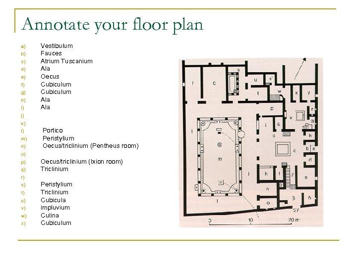 Annotate your floor plan a) b) c) d) e) f) g) h) i) Vestibulum
