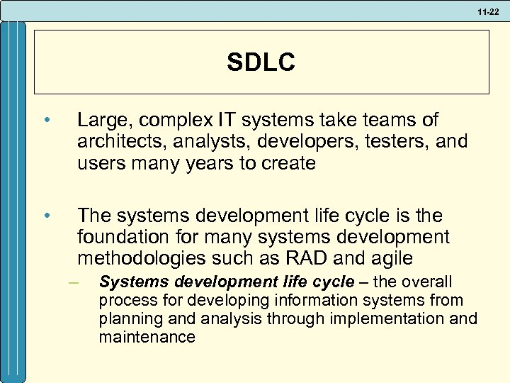 11 -22 SDLC • Large, complex IT systems take teams of architects, analysts, developers,