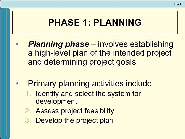 11 -25 PHASE 1: PLANNING • Planning phase – involves establishing a high-level plan