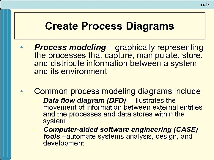 11 -35 Create Process Diagrams • Process modeling – graphically representing the processes that