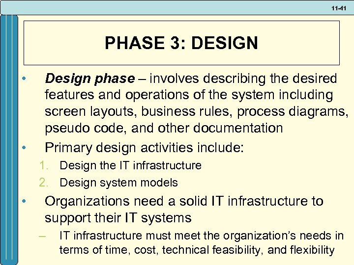 11 -41 PHASE 3: DESIGN • • Design phase – involves describing the desired