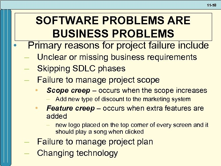 11 -58 • SOFTWARE PROBLEMS ARE BUSINESS PROBLEMS Primary reasons for project failure include