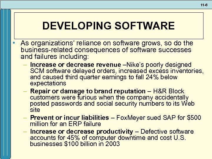11 -6 DEVELOPING SOFTWARE • As organizations' reliance on software grows, so do the