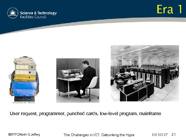 Era 1 User request, programmer, punched cards, low-level program, mainframe ©STFC/Keith G Jeffery The