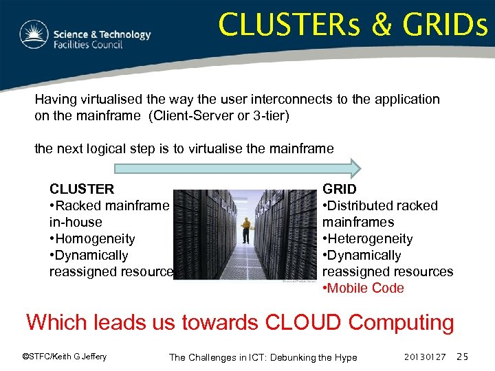 CLUSTERs & GRIDs Having virtualised the way the user interconnects to the application on