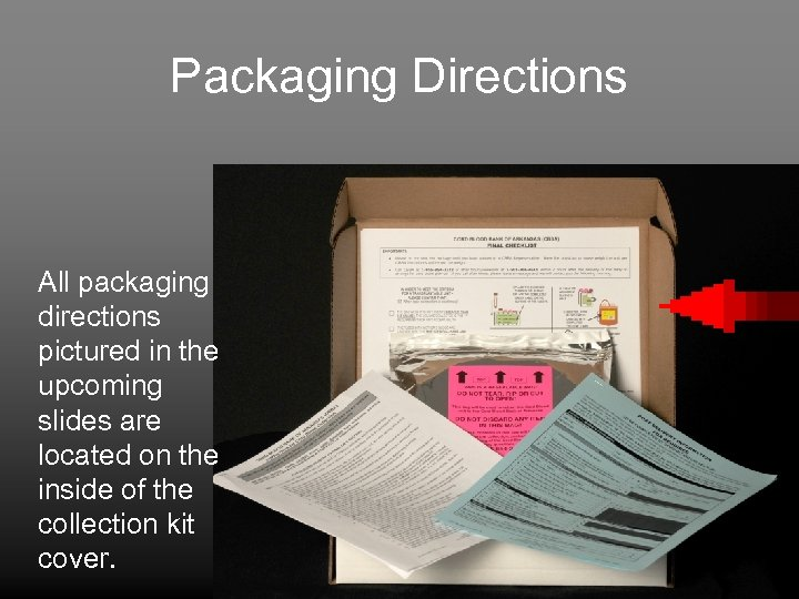 Packaging Directions All packaging directions pictured in the upcoming slides are located on the