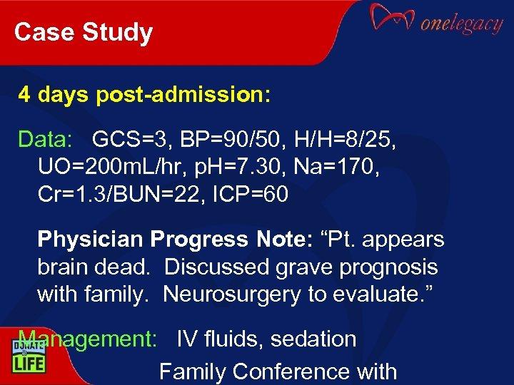 Case Study 4 days post-admission: Data: GCS=3, BP=90/50, H/H=8/25, UO=200 m. L/hr, p. H=7.