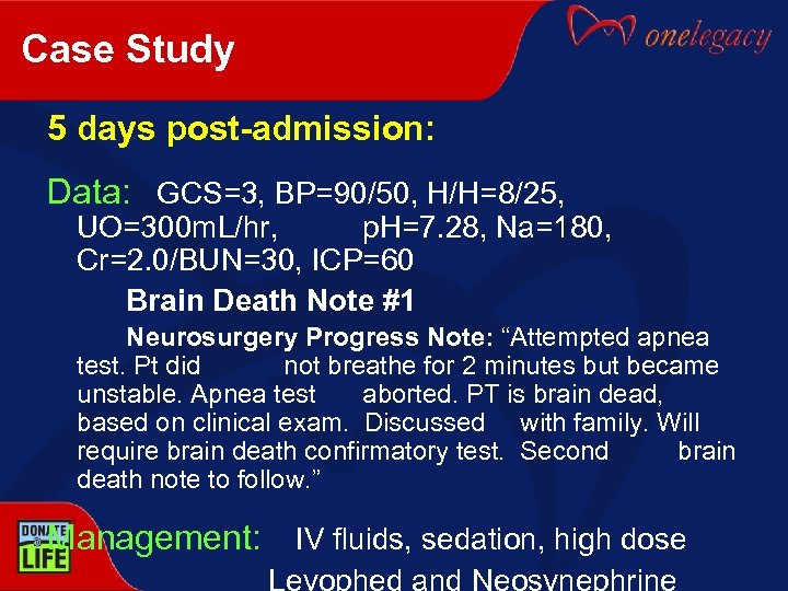 Case Study 5 days post-admission: Data: GCS=3, BP=90/50, H/H=8/25, UO=300 m. L/hr, p. H=7.