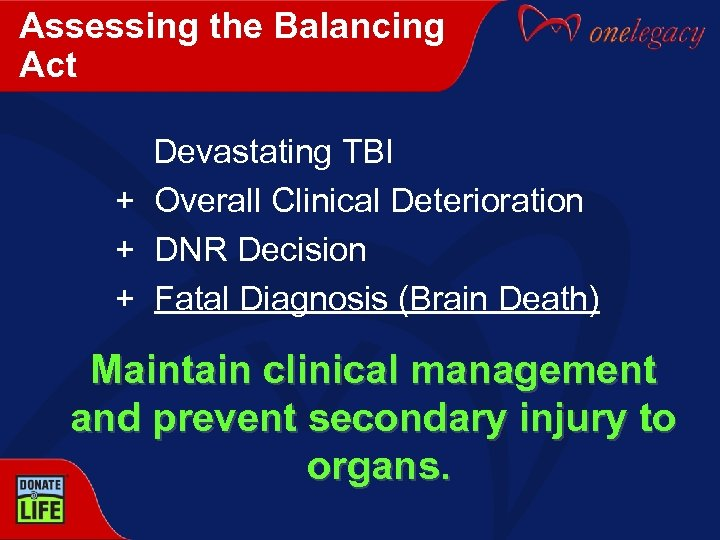Assessing the Balancing Act Devastating TBI + Overall Clinical Deterioration + DNR Decision +