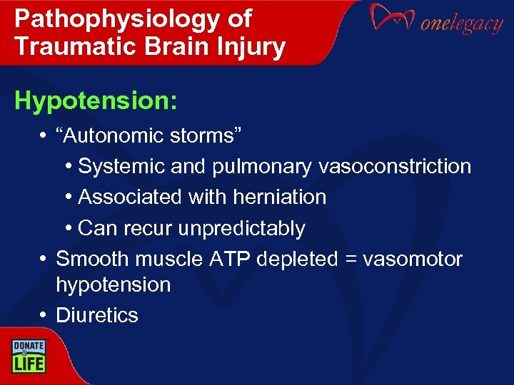 """Pathophysiology of Traumatic Brain Injury Hypotension: • """"Autonomic storms"""" • Systemic and pulmonary vasoconstriction"""