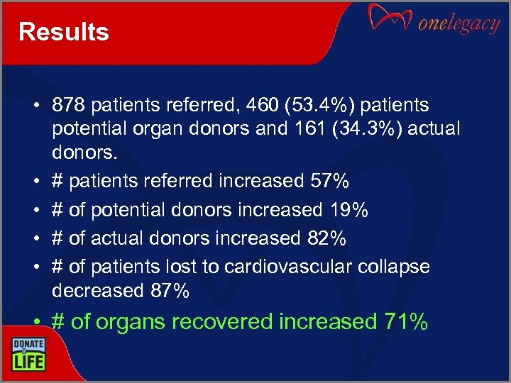 Results • 878 patients referred, 460 (53. 4%) patients potential organ donors and 161