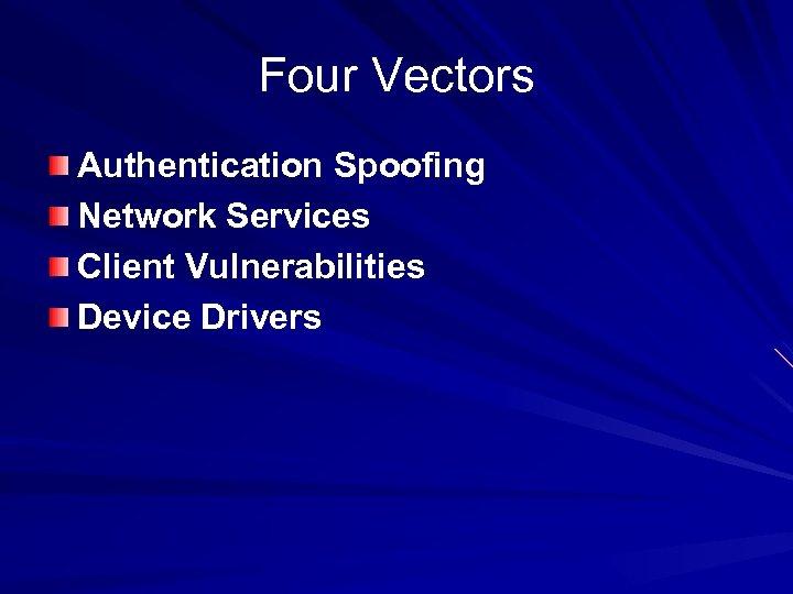 Four Vectors Authentication Spoofing Network Services Client Vulnerabilities Device Drivers