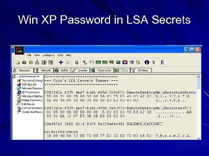 Win XP Password in LSA Secrets