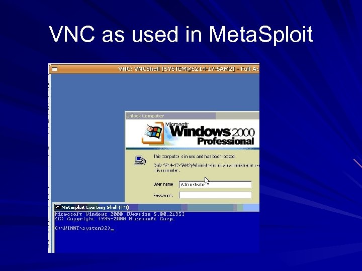VNC as used in Meta. Sploit