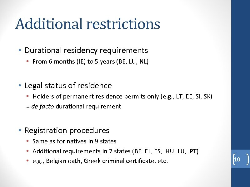Additional restrictions • Durational residency requirements • From 6 months (IE) to 5 years