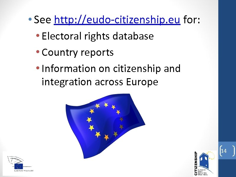 • See http: //eudo-citizenship. eu for: • Electoral rights database • Country reports