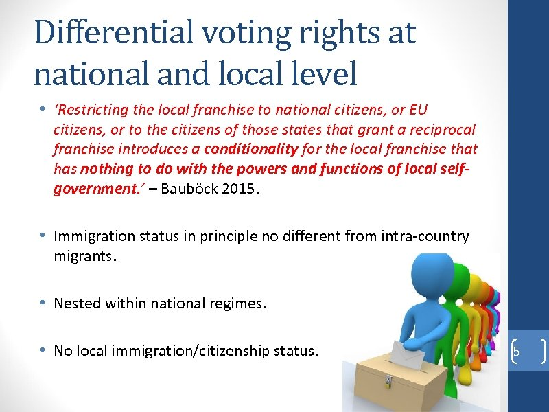 Differential voting rights at national and local level • 'Restricting the local franchise to