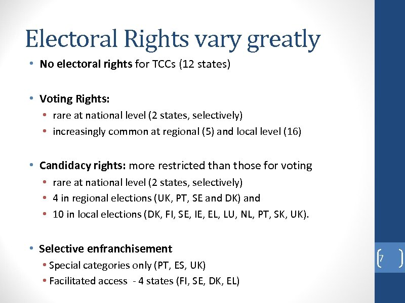 Electoral Rights vary greatly • No electoral rights for TCCs (12 states) • Voting