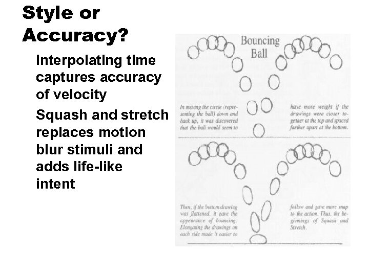 Style or Accuracy? Interpolating time captures accuracy of velocity Squash and stretch replaces motion