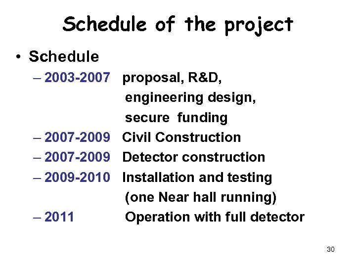 Schedule of the project • Schedule – 2003 -2007 proposal, R&D, engineering design, secure