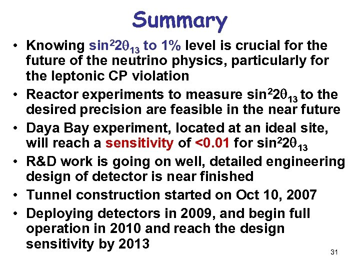 Summary • Knowing sin 22 13 to 1% level is crucial for the future