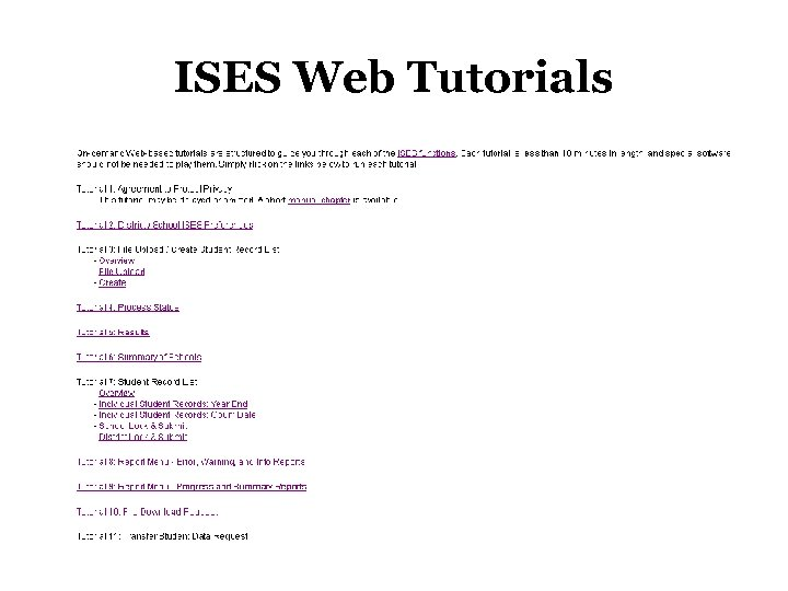 ISES Web Tutorials
