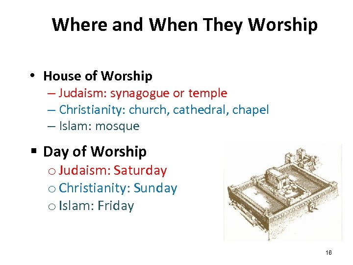 Where and When They Worship • House of Worship – Judaism: synagogue or temple